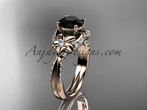 Unique 14kt rose gold diamond flower, leaf and vine wedding ring, engagement ring with a Black Diamond center stone ADLR220