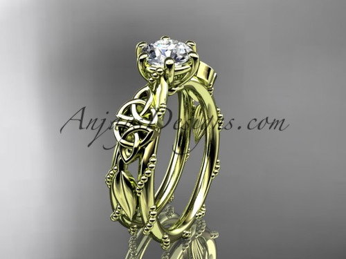 Celtic Engagement Rings Yellow Gold Leaf Wedding Ring CT766