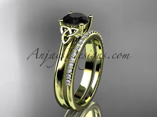 14kt yellow gold diamond celtic trinity knot wedding ring, engagement set with a Black Diamond center stone CT7154S