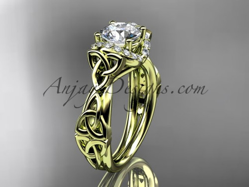 """14kt yellow gold diamond celtic trinity knot wedding ring, engagement ring with a """"Forever One"""" Moissanite center stoneCT7289"""
