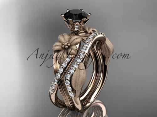 Unique 14kt rose gold diamond flower, leaf and vine wedding ring, engagement set with a Black Diamond center stone ADLR221S