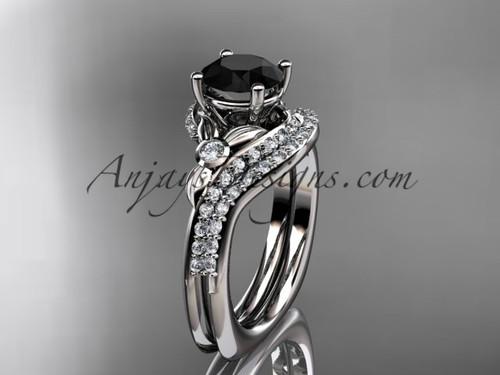 platinum diamond leaf and vine engagement ring set with a Black Diamond center stone ADLR112S