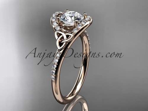 Irish Celtic Bridal Rings Rose Gold Engagement Ring CT7317