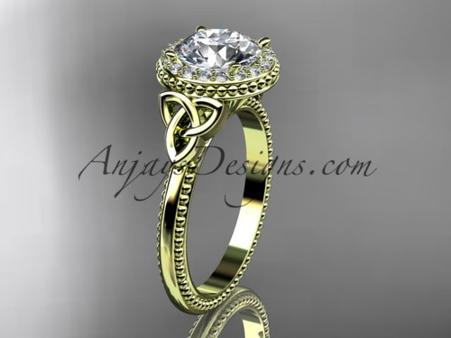 """14kt yellow gold diamond celtic trinity knot wedding ring, engagement ring with a """"Forever One"""" Moissanite center stone CT7157"""