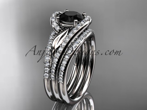 platinum diamond leaf  wedding ring with a Black Diamond center stone and double matching band ADLR317S