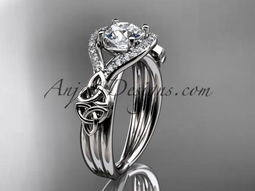 14kt white gold celtic trinity knot engagement ring ,diamond wedding ring CT785