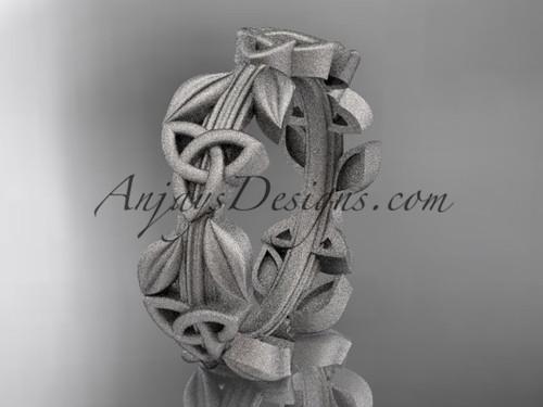 14kt white gold celtic trinity knot matte finish wedding band, engagement ring CT7316G