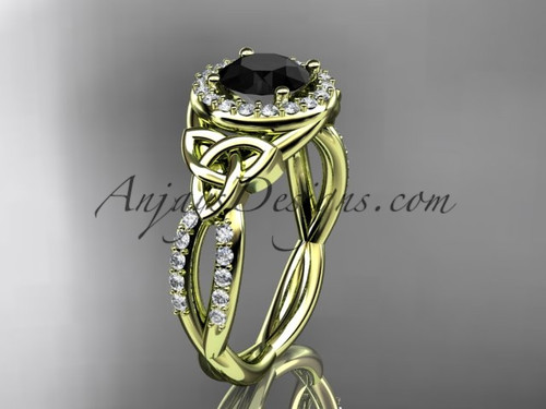 14kt yellow gold diamond celtic trinity knot wedding ring, engagement ring with a Black Diamond center stone CT7127
