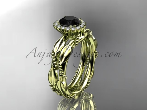 14kt yellow gold diamond leaf and vine wedding set, engagement set with a Black Diamond center stone ADLR337