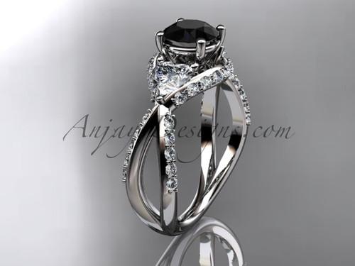 Unique platinum diamond wedding ring, engagement ring with a Black Diamond center stone ADLR318