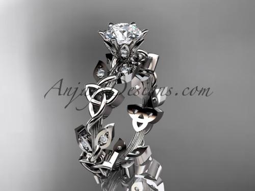 14kt white gold diamond celtic trinity knot wedding ring, engagement ring CT7209