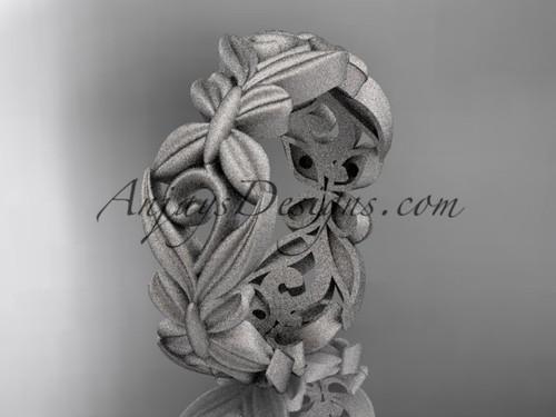 platinum matte finish leaf and vine, butterfly wedding ring,wedding band ADLR348G