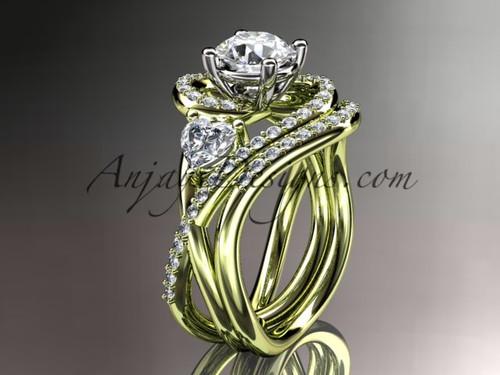 Unique 14kt yellow gold diamond engagement set, wedding ring ADLR320S