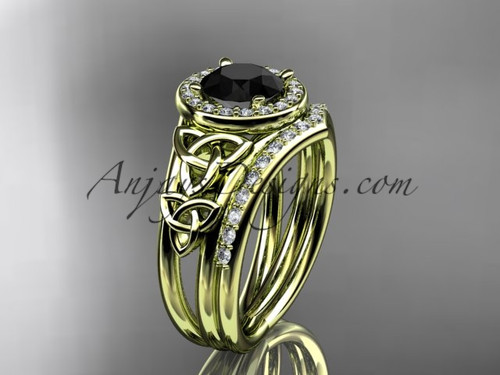 14kt yellow gold diamond celtic trinity knot wedding ring, engagement set with a Black Diamond center stone CT7131S