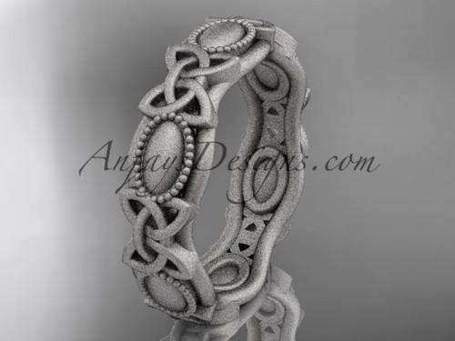 platinum celtic trinity knot wedding band, matte finish wedding band, engagement  ring CT7152G