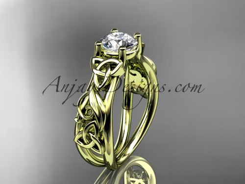 Moissanite Yellow Gold Celtic Triquetra Wedding Ring CT7216