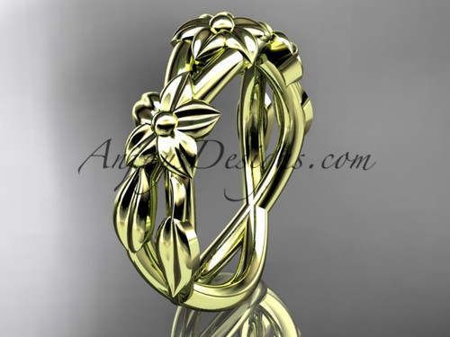 yellow gold flower wedding band ADLR204G | AnjaysDesigns