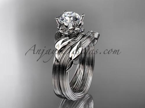 "14kt white gold diamond flower, leaf and vine wedding ring, engagement set with a ""Forever One"" Moissanite center stone ADLR240S"