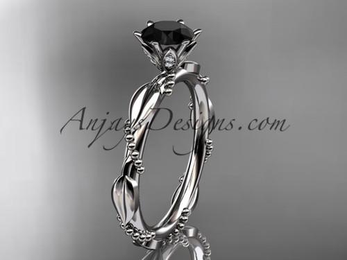Platinum Black Diamond Leaf Wedding Ring ADLR178