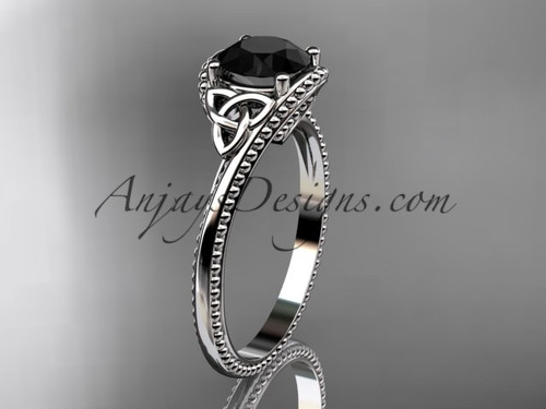 14kt white gold celtic trinity knot wedding ring, engagement ring with a Black Diamond center stone CT7322