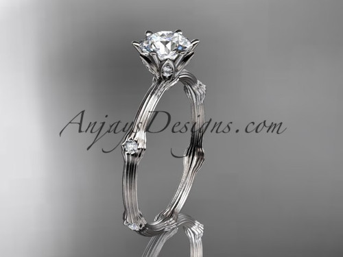 Vine Engagement Ring - White Gold Moissanite Ring ADLR38
