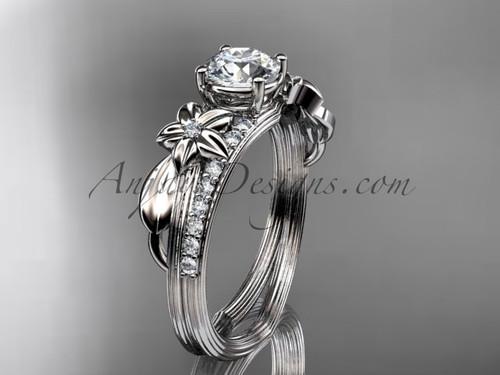 Platinum diamond leaf and vine wedding ring, engagement ring ADLR331