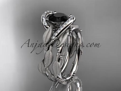 platinum diamond leaf and vine wedding ring, engagement set with a Black Diamond center stone ADLR64S