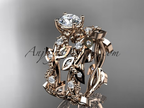 Wedding and Engagement Ring Sets Rose Gold Leaf ADLR59S