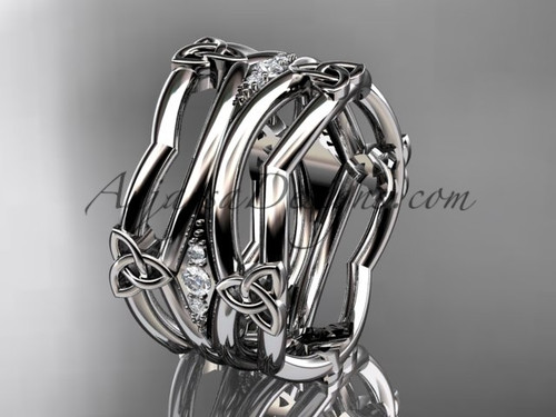 14kt white gold diamond celtic trinity knot wedding band,  triquetra ring, engagement  ring CT7351B