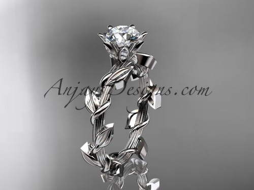 Unique Trendy Floral Wedding Ring, Platinum  Moissanite Bridal Ring ADLR248