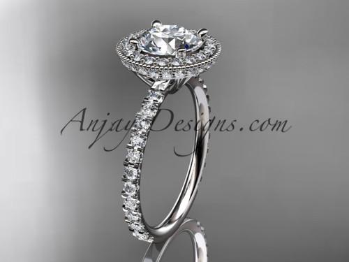 14kt white gold diamond unique engagement ring, wedding ring ADER106