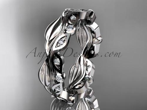 Platinum diamond leaf and vine wedding ring, engagement ring, wedding band ADLR268B