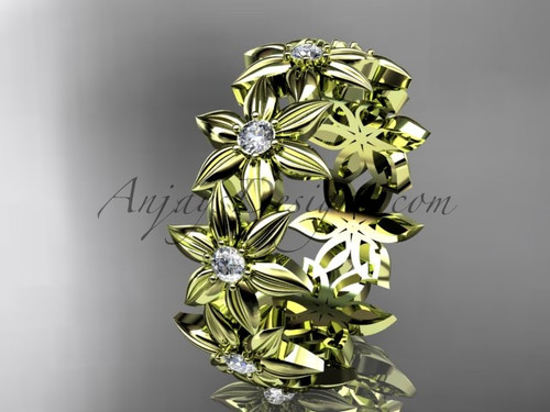 Floral Wedding Band, 14K Yellow Gold Ring for Women ADLR339B