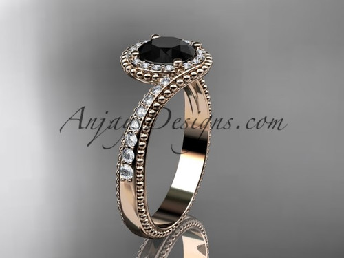 14kt rose gold halo diamond engagement ring with a  Black Diamond center stone ADLR379