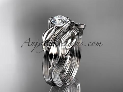 platinum leaf and vine wedding ring, engagement set ADLR273S