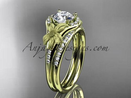 """14kt yellow gold diamond leaf and vine wedding ring, engagement set with a """"Forever One"""" Moissanite center stone ADLR91S"""