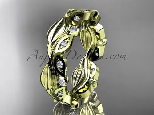 14kt yellow gold diamond leaf and vine wedding ring, engagement ring, wedding band ADLR268B