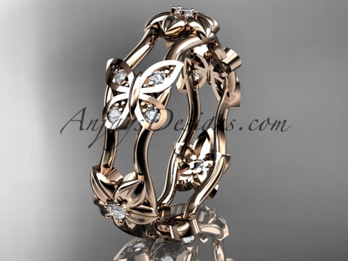 14kt rose gold diamond floral butterfly wedding band, engagement ring, wedding band ADLR153B