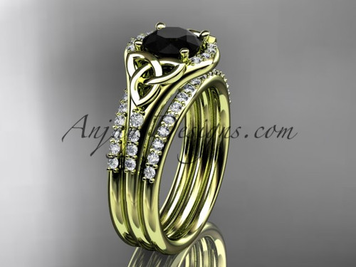 14kt yellow gold diamond celtic trinity knot wedding ring, engagement ring with a Black Diamond center stone and double matching band CT7126S