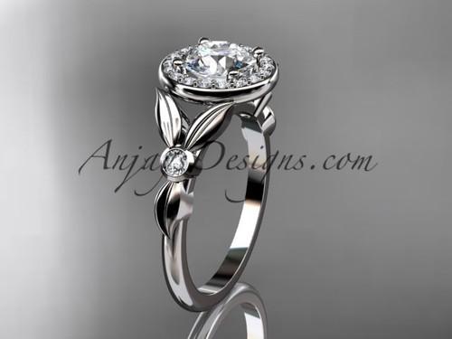 14kt white gold diamond floral wedding ring, engagement ring ADLR129