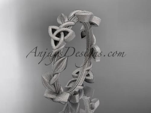 platinum celtic trinity knot matte finish wedding band, engagement ring CT7509G