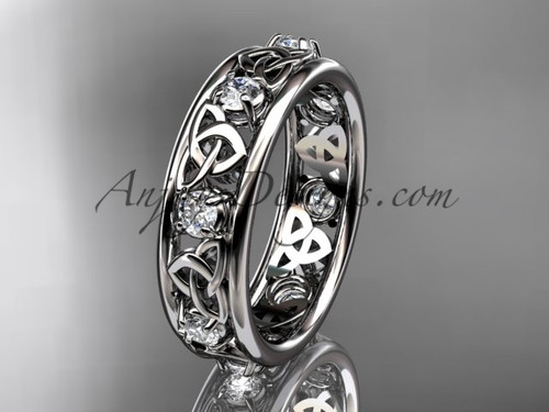 14kt white gold celtic trinity knot wedding band, engagement ring CT7503B