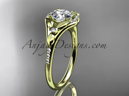 """14kt yellow gold diamond floral wedding ring, engagement ring with a """"Forever One"""" Moissanite center stone ADLR126"""