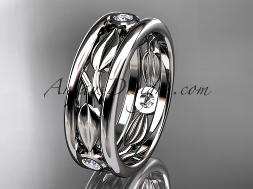 14kt white gold diamond leaf wedding band, engagement ring ADLR401B