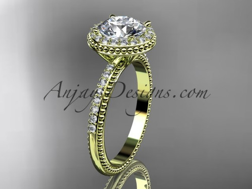 14kt yellow gold diamond unique engagement ring, wedding ring ADER95