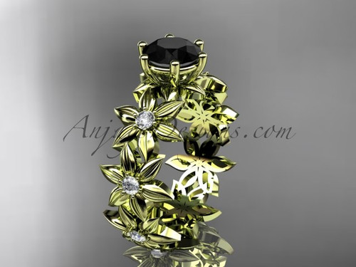 Unique Engagement Rings 14k yellow gold  Black Diamond Flower Ring ADLR339