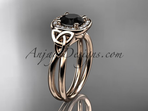 14kt rose gold black diamond celtic engagement ring CT7330