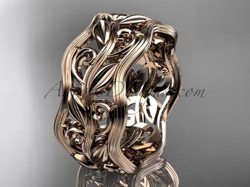 14kt rose gold leaf and vine wedding ring, engagement ring, wedding band ADLR263G