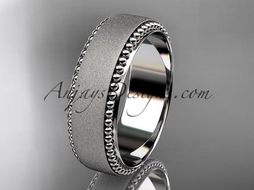 14kt white gold matte finish classic wedding band, engagement ring ADLR380G
