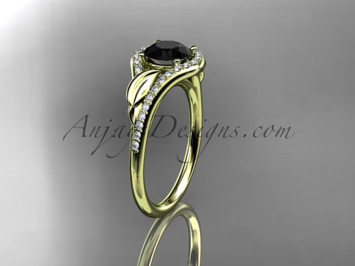 14kt yellow gold diamond leaf wedding ring, engagement ring with a Black Diamond center stone ADLR334